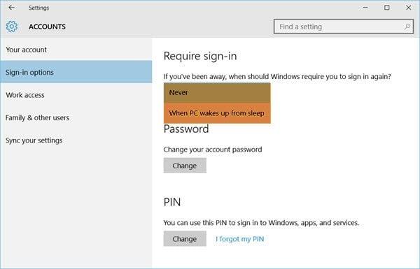Hacer que el equipo con Windows 10 necesite una contraseña al activarse desde el modo de reposo