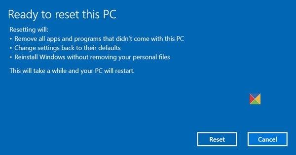 Restablecer este PC le permite restaurar la configuración de fábrica de Windows 10 sin perder archivos.