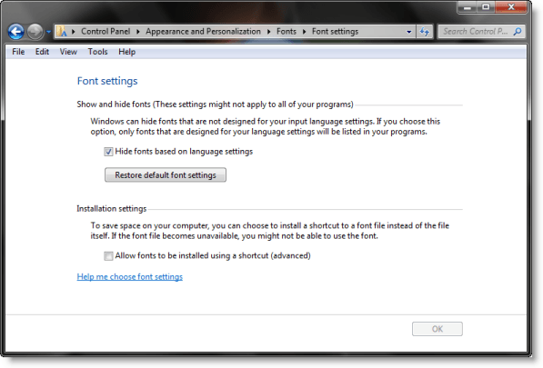 Cómo restaurar la configuración predeterminada de fuentes en Windows 10/8/7