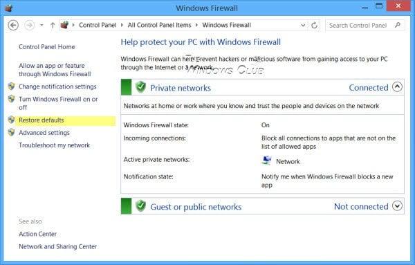 Restaurar o restablecer los valores predeterminados de la configuración del Firewall de Windows 1