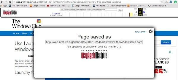 Guardar una página web como prueba de que apareció por primera vez en Internet.