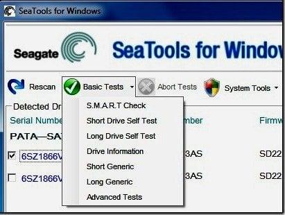 Seagate SeaTools: Una herramienta de diagnóstico de disco duro para Windows