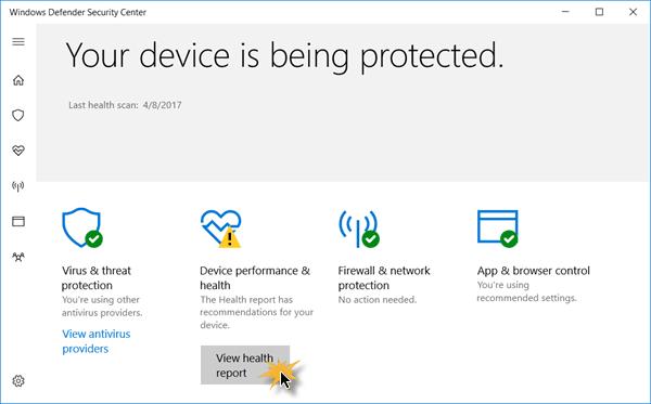 Centro de seguridad de Windows Defender en Windows 10 6