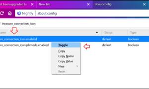 Cómo desactivar el icono de conexión insegura en la barra de direcciones del navegador Firefox