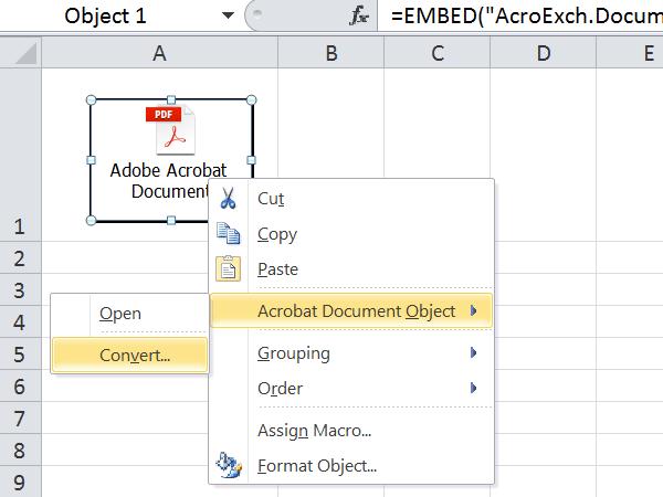 Cómo insertar un archivo PDF en una hoja de Excel 5