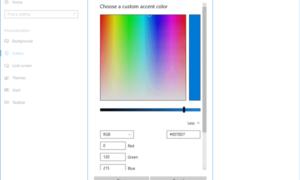 Seleccione un color personalizado para el menú Inicio, la barra de tareas, la barra de título y el Centro de actividades de Windows 10.