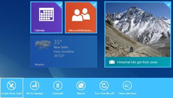 Seleccionar varios azulejos en la pantalla de inicio de Windows 8.1 1