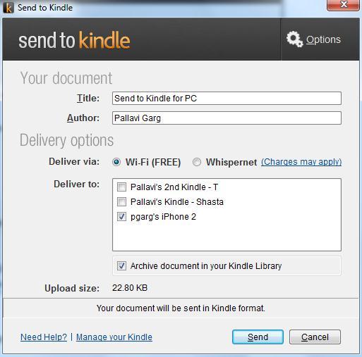 Envíe documentos de Windows PC a Kindle libre y rápidamente usando Enviar a Kindle