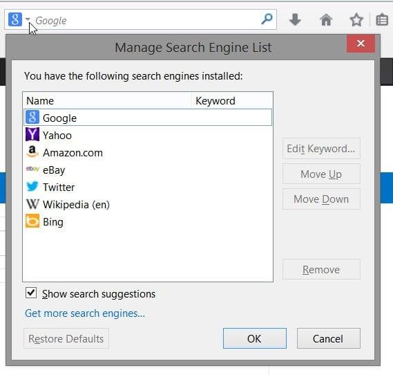 Cambiar el motor de búsqueda predeterminado en Internet Explorer, Chrome, Firefox, Opera