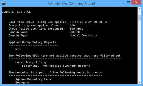 Verificar la configuración de la directiva de grupo con la herramienta Resultados de la directiva de grupo o GPResult.exe en Windows 4