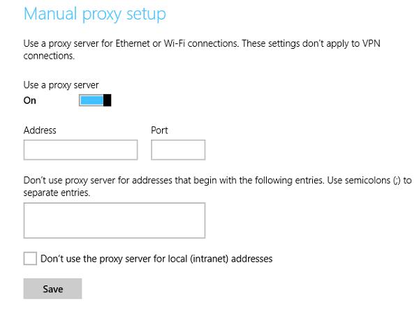 Cómo configurar los ajustes del servidor Proxy en Windows 10/8.1