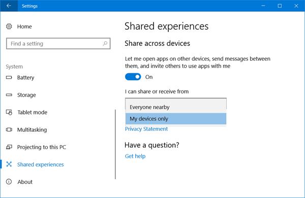 Activar o desactivar la característica Experiencias compartidas en Windows 10