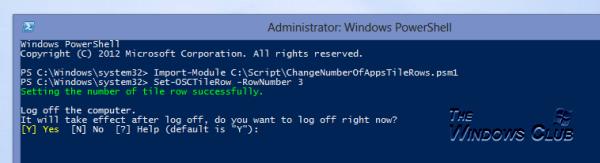 Usar PowerShell para cambiar el número de filas de aplicaciones en la pantalla de inicio de Windows 8 3