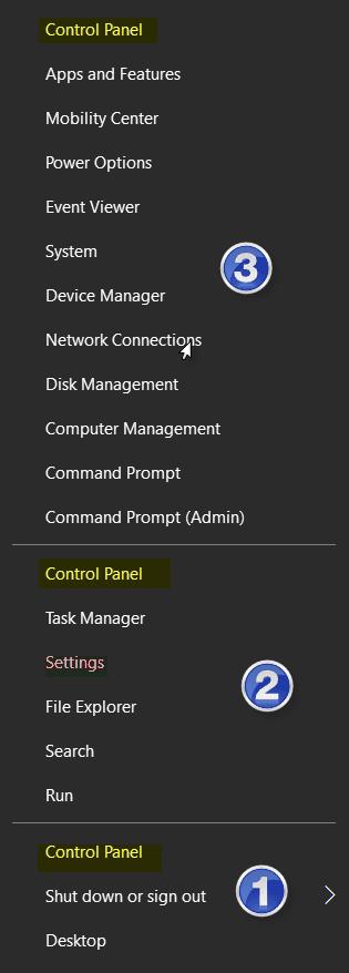 Cómo mostrar el Panel de Control en el Menú WinX de Windows 10