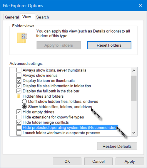 Cómo mostrar Archivos y carpetas ocultos en Windows 10/8/7