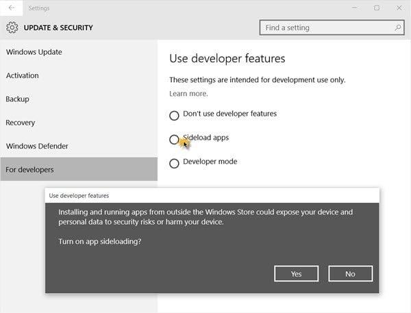 Cómo cargar aplicaciones desde SideLoad en un PC con Windows 10