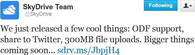 SkyDrive ahora soporta ODF, Twitter, cargas de 300 MB y URLs cortas. 1