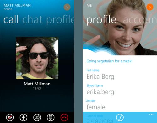 Lanzamiento de la aplicación Skype para Windows Phone