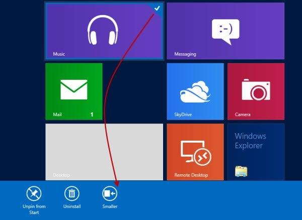 Cambiar el tamaño y hacer que Tile sea más pequeño o más grande en Windows 8 2