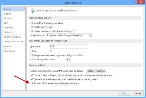 Desactivar la pantalla de salpicadura en los programas de Microsoft Office Word, Excel y PowerPoint