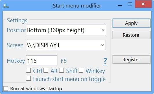 Abrir la pantalla de inicio de Metro en el modo de escritorio en Windows 8 con el modificador del menú Inicio 2