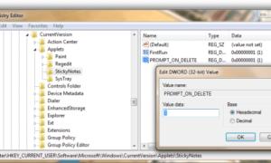 Desactivar o activar Windows 10 Sticky Notes Eliminar Confirmación Prompt.