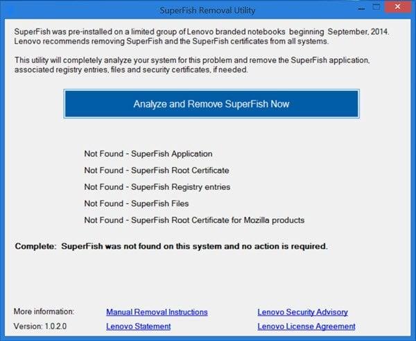 SuperFish Removal Tool de Lenovo desinstalará automáticamente el malware