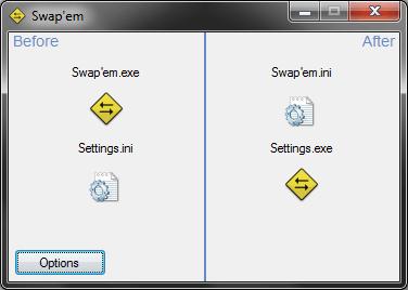 Intercambiar nombres de archivos con nombres de carpetas utilizando Swapem para Windows 1