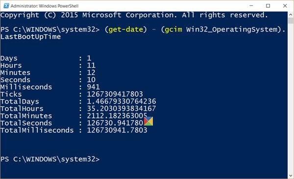 Cómo encontrar el tiempo de actividad del sistema en Windows 10