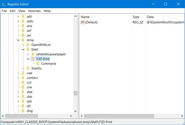 Eliminar la impresión en 3D con el elemento 3D Builder del menú contextual de Windows 10