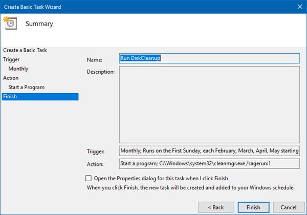 Automatice el funcionamiento de la herramienta mejorada de Liberador de espacio en disco en Windows 10/8/7 9