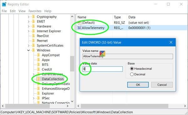 Administración de la configuración de telemetría y recopilación de datos de Windows 10 10