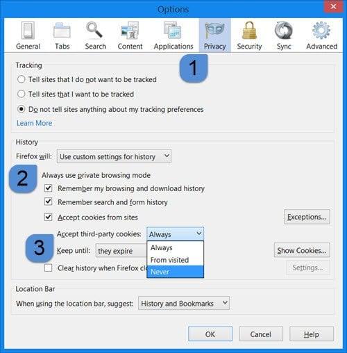 Bloquear o permitir cookies de terceros en IE, Chrome, Firefox, Opera 3