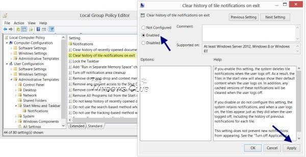 Deshabilitar, habilitar y borrar el historial de notificaciones de azulejos y baldosas en Windows 10/8