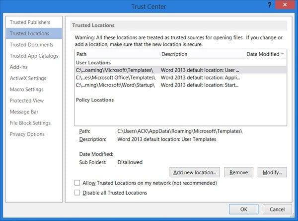 Agregar, quitar o modificar ubicaciones de confianza en Microsoft Office
