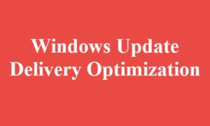 Optimización de la entrega de Windows Update o WUDO en Windows 10