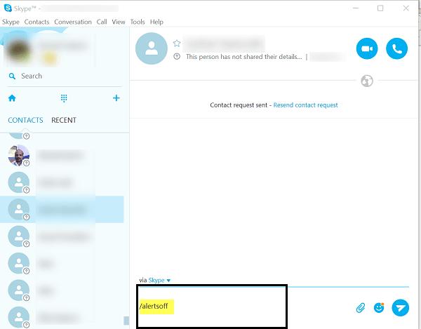 Desactivar las alertas de audio de Skype para conversaciones en grupo en Windows 10