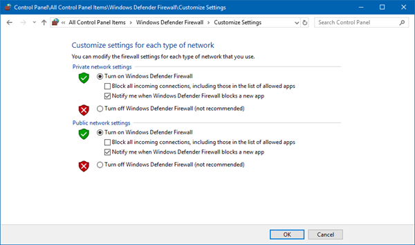 Cómo habilitar o deshabilitar Firewall de Windows Defender en Windows 10