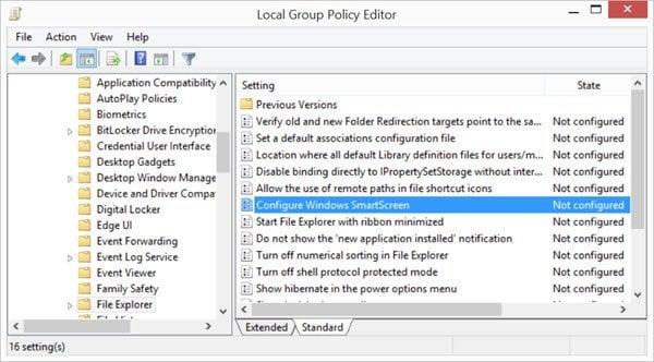Cómo apagar o desactivar el Filtro SmartScreen en Windows 10 8