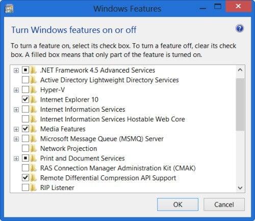 Activar o desactivar características de Windows está en blanco o vacío 3