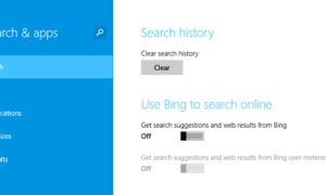 Desactivar la búsqueda de Bing en Windows 8.1 Search Charm