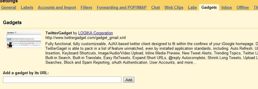 Cómo añadir un gadget de Twitter y un tweet desde tu cuenta de Gmail 4