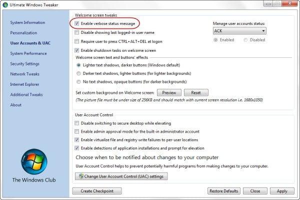 Habilitar Verbose o mensajes de estado muy detallados en Windows 10/8/7