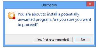 La opción Desmarcar evita que el software engañoso añada crapware durante la instalación.