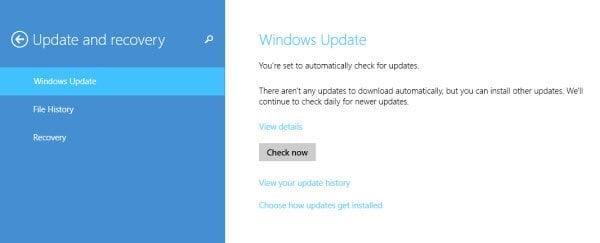 Opciones de Windows Update y Recovery en Windows 8.1 1