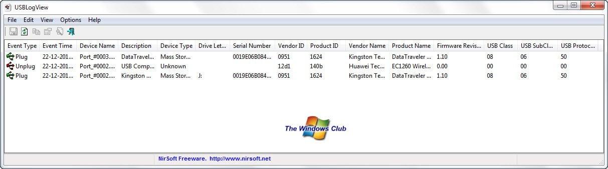Realice un seguimiento de quién usó un dispositivo USB en su PC con Windows con USBLogView