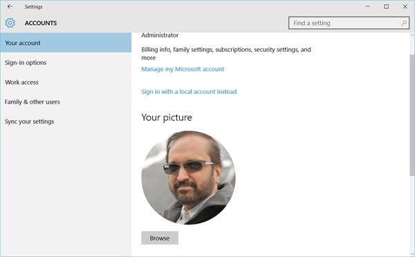 Eliminación de imágenes de cuentas de usuario antiguas en Windows 10