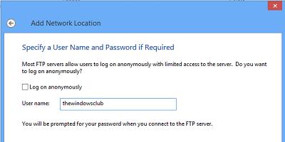Agregar ubicación de red, unidad FTP de mapa en Windows 10/8/7 5