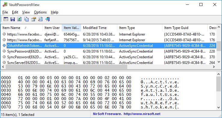 VaultPasswordView le permite descifrar contraseñas almacenadas en Windows Vault