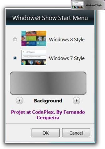 El gadget del menú Inicio de Windows8 le permite cambiar entre el menú Inicio de Windows 8 y 7.